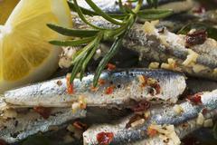 Alici al limone (Marinated anchovies, Calabria) - stock photo