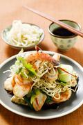 Bami Goreng with shrimps (Indonesia) - stock photo