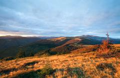autumn evening mountain plateau landscape - stock photo