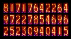 Nixie clock numerical counter videowall Stock Footage