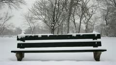Snowy Park Bench Stock Footage