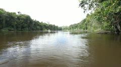 0056-Amazon River 2 Men Canoe Stock Footage