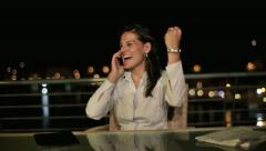Excited, happy, successful businesswoman on terrace, crane shot HD Stock Footage