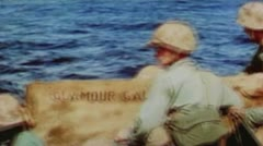 Stock Video Footage of World War II Color Footage - US forces stormin iwo jima beaches