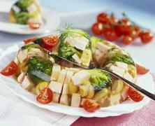 Ham and broccoli in aspic Stock Photos