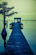 pier on the lake - stock photo