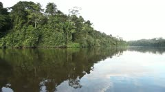 0057-Amazon River Landscape Reflection Floating 2 Stock Footage