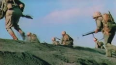 World War II Color Footage - US infantery storming iwo jima beaches Stock Footage