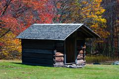 Stock Photo of log cabin in the fall