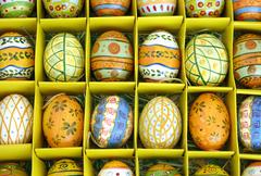 Hand-painted Easter eggs in a box Stock Photos