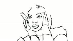 Sketch of a girl Stock Footage