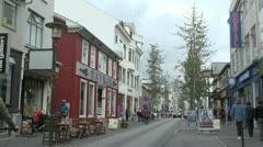 Iceland Reykjavik street with tree  Stock Footage