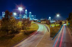 Skyline of uptown charlotte, north carolina at night. Stock Photos