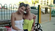 Happy girlfriends having fun and smiling to camera, steadicam shot HD Stock Footage