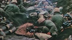 World War II Color Footage - US infantery storming iwo jima beaches, mortar unit Stock Footage