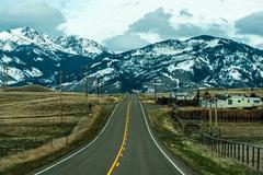 rocky mountains road - stock photo