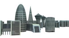 city landscape isolated on white background - stock illustration