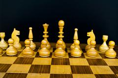 woody board with black and white chess figures - stock photo