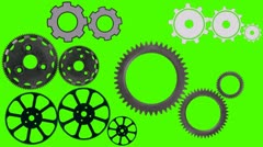 Cog wheels Spin and Rotate on a Green Screen Background Stock Footage