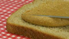 Peanut butter and bread, Slow Motion - stock footage