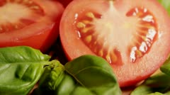 Tomatoes and Basil Stock Footage