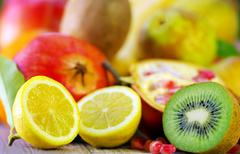 kiwi , lemon and variety fruits - stock photo