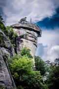 chimney rock at lake lure - stock photo