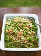 French bean salad with bacon - stock photo