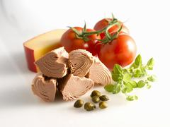 Tinned tuna, capers, oregano, tomatoes and Edam cheese Stock Photos