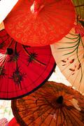 asian umbrellas - stock photo