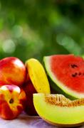 Slice of melon and ripe fruits Stock Photos