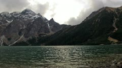 View at the two mountains and lake. Stock Footage