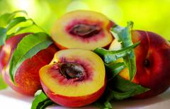 sliced peachs on green background - stock photo
