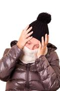 woman with flu and severe headache - stock photo