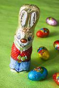 Chocolate Easter bunny and chocolate eggs Stock Photos