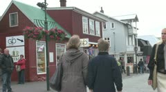 Iceland Reykjavik street and shops s Stock Footage