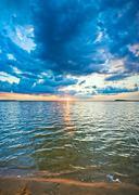 lake sunset view - stock photo