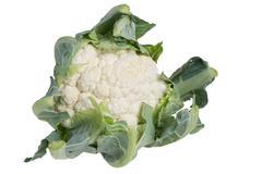 cauliflower head isolated on white - stock photo