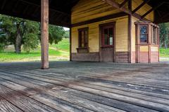 Architectural Detail of Old Western Train Station - stock photo