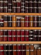 shelves of jams and jellies - stock photo