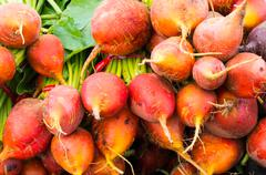 beets on display at the market - stock photo