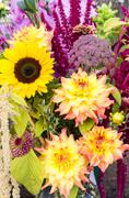 flower arrangement with fresh flowers - stock photo