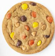 Reeses Pieces and Peanut Butter Chip Cookie; White Background Stock Photos