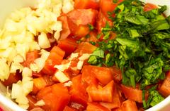 chopped ingredients onion tomato garlic - stock photo