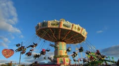 German Oktoberfest Germany Munich Beer Festival Carousel fairground Stock Footage