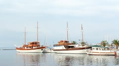 Port with sailboat Stock Footage