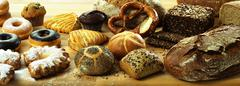Various breads, rolls and sweet confectionary - stock photo
