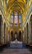 St. Vitus Cathedral interior in Prague - stock photo