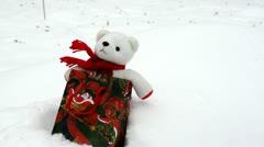 White plush teddy bear christmas gift present bag snow Stock Footage