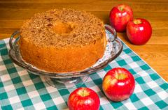 red apples and fresh apple cake - stock photo